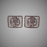 Pr French Bronze Cut Steel Shoe Buckles