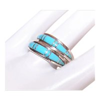 Pair Sterling Silver Inlay Turquoise Stackable Rings