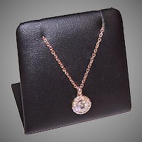 Vintage 14K Rose Gold Diamond Pendant Necklace