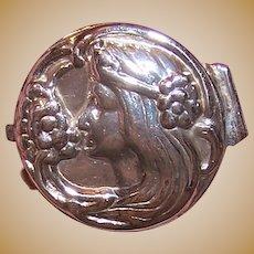 Art Nouveau Sterling Silver Pill Box