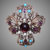 Vintage Gold Tone Amethyst Turquoise Costume Pin
