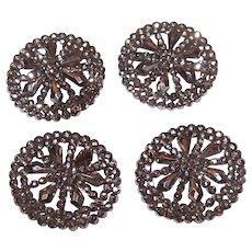 4 Lg Antique Cut Steel Buttons