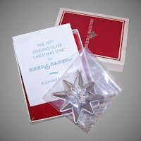1977 Reed & Barton Sterling Christmas Star with Box/Papers