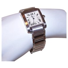 c152d22480e Cartier Midsize Ladies Tank Francaise Stainless Steel Watch