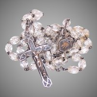 Vintage Sterling Silver Clear Crystal Rosary