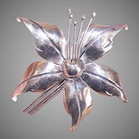 Mexican Sterling Silver Orchid Pin