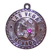 Sterling Silver Rhinestone Souvenir Disc Charm Las Vegas Dice Horseshoe