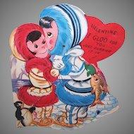 Lg 1950s Mechanical Valentine - Eskimos