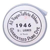 Vintage 1946 Brand 6 Yds All Rayon Taffeta Ribbon - Slate Grey