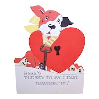 Unused Art Deco Valentine - Puppy with Key