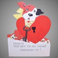 Unused Art Deco Valentine - Puppy with Key