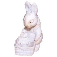 Antique Biscuit Bunny Rabbit with Easter Basket