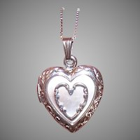 Vintage Sterling Mother of Pearl Heart Pendant Necklace
