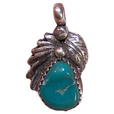Native American Sterling Turquoise Pendant