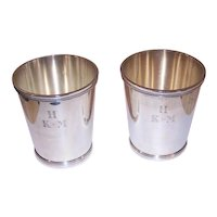 Pair C.1946 Sterling Silver Mint Julep Cups by Jaccard - Design of 1850 - Original Flannel Bag