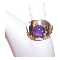 Mexican Sterling Silver Amethyst Modernist Ring