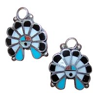 Pair Sterling Silver Stone Inlay Native American Zuni Earring Drops - Add Your Own Finding