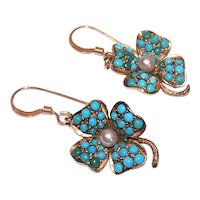 Antique Victorian 14K Gold Pave Turquoise 4 Leaf Clover Drop Earrings