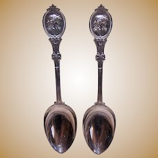 Set/6 Hotchkiss Shreuder Medallion Coin Silver Dessert Spoons