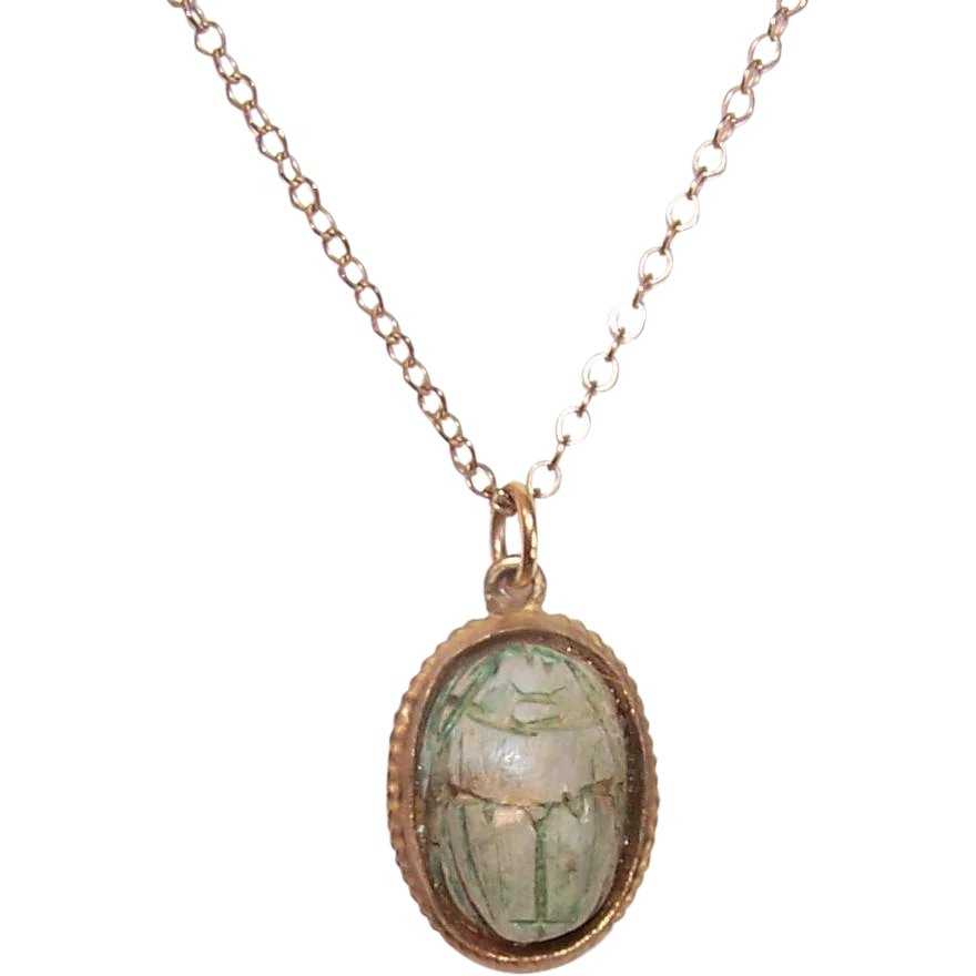 Vintage Egyptian Scarab Pendant on GF Chain