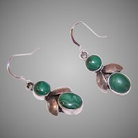Vintage Sterling Silver Malachite Earrings