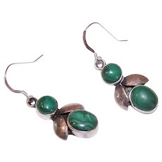 Vintage Sterling Silver Malachite Earrings - Native American Bug Design