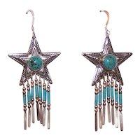 QT Sterling Silver Turquoise Heishe Star Drop Earrings