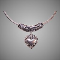 Vintage Sterling Silver Slider Pendant Heart with Scrollwork