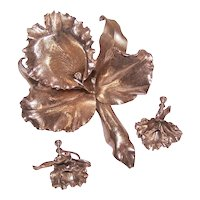 Sterling Silver Vermeil 3D Orchid Set - Pin/Brooch and Earrings