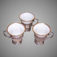 Set/3 Continental Silver Demitasse Holders with Lenox Porcelain Insert