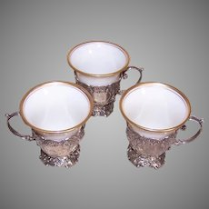 Set/3 Continental Silver Demitasse Holders with Lenox Porcelain Insert