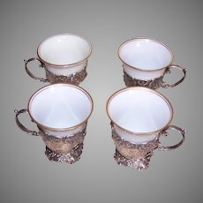 Set/4 Continental Silver Demitasse Holders with Unmarked Porcelain Insert