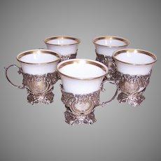 Continental Silver Demitasse Holders Lenox Porcelain Insert