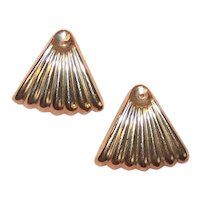 Vintage 14K Gold Earring Jackets - Ribbed Triangular Drops