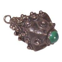 Vintage 800 Silver Chrysoprase Charm Pendant