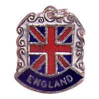 Sterling Enamel Travel Shield Charm for England