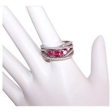 Sterling Silver Ruby Clear CZ Fashion Ring