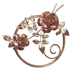 Krementz Yellow and rose Gold Filled Floral Pin Brooch