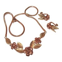 Krementz Yellow and Rose Gold Filled Demi Parure - Necklace and Earrings