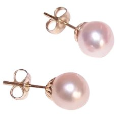 Lustrous 14K Gold 7.5mm Cultured Pearl Earrings