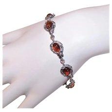 Sterling Silver Baltic Amber Link Bracelet