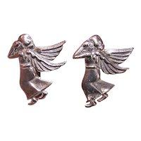 Mexican Sterling Silver Earrings - Guardian Angel
