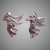 Mexican Sterling Silver Earrings Guardian Angel