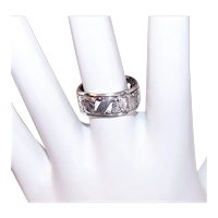 Uncas Sterling Silver Floral Ring Cigar Band Ring