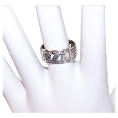 Uncas Sterling Silver Floral Ring Cigar Band Ring - Cutwork Design