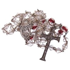 Vintage Sterling Silver Clear Red Crystal Rosary