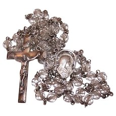 Vintage Creed Sterling Silver Clear Crystal Rosary