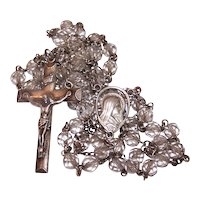 Creed Sterling Silver Clear Glass Crystal Religious Rosary