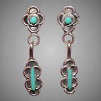 Vintage Sterling Silver Turquoise Zuni Earrings