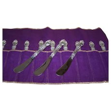 Set/4 Wallace Sterling Silver Violet Butter Knives